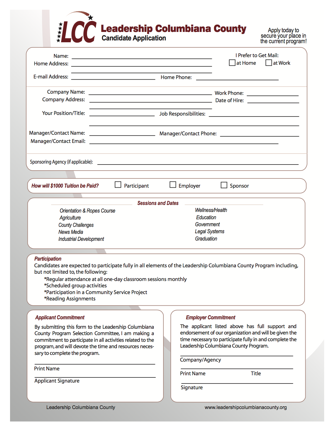 2017-2018 LCC Candidate Application Form